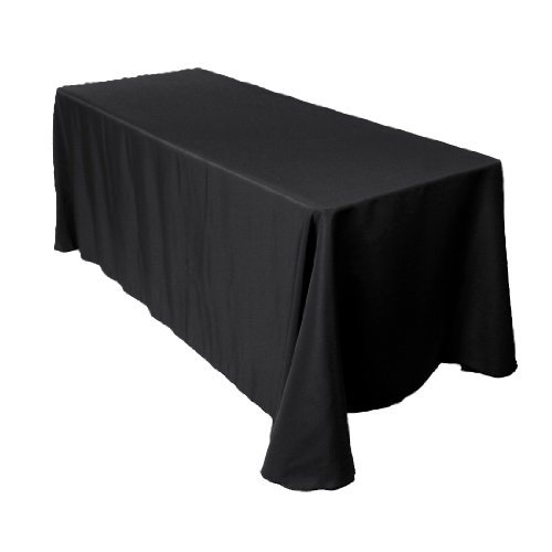 90 x 120 inch Rectangular black tablecolth with round corners