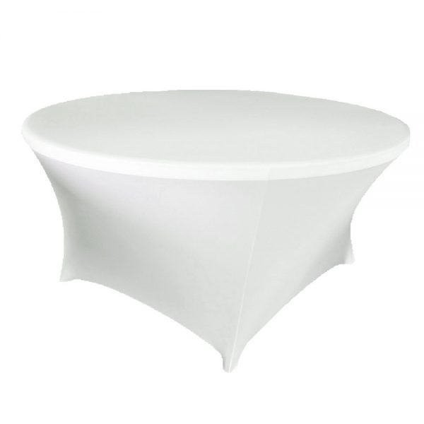 Spandex tablecloth white to fit 72 inch round table