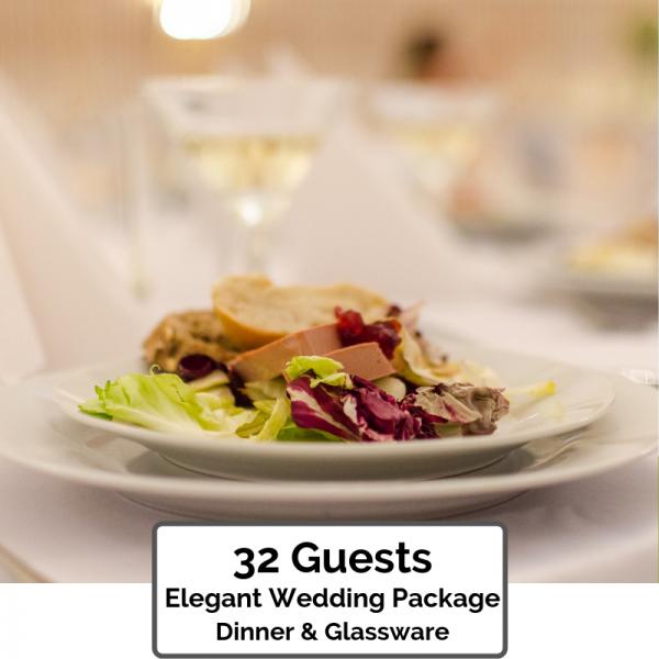 Wedding Packages Orlando ~ Elegant Dinner & Glassware for 32 Guests