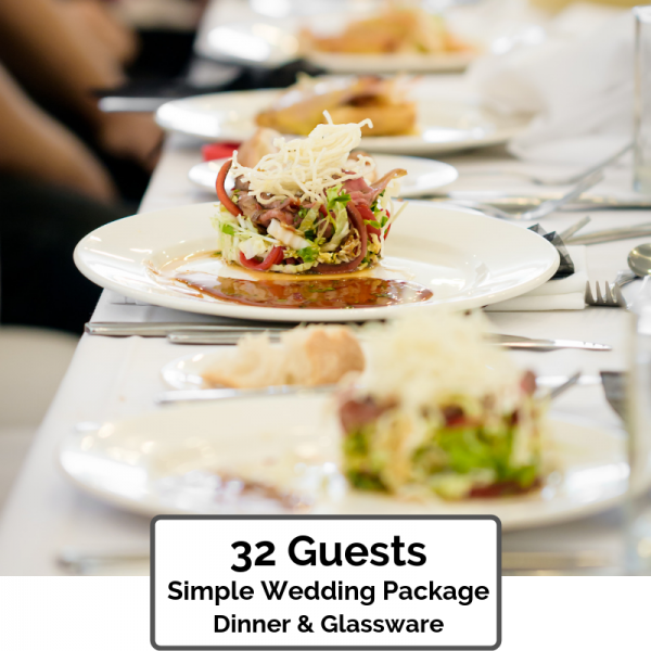 Wedding Packages Orlando ~ Simple Dinner & Glassware for 32 Guests