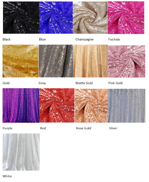 Sequin color chart for tablecloths and runners